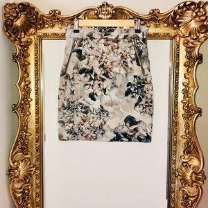 H&M watercolor floral skirt